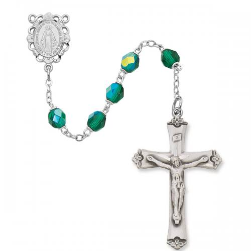 Rosary Miraculous Medal Ster Silver Emerald May Birthstone