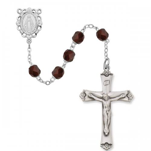 Rosary Miraculous Medal Ster Silver Garnet January Birthstone