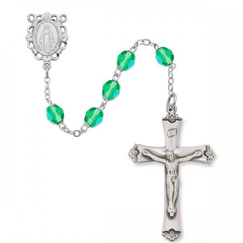 Rosary Miraculous Medal Ster Silver Peridot August Birthstone