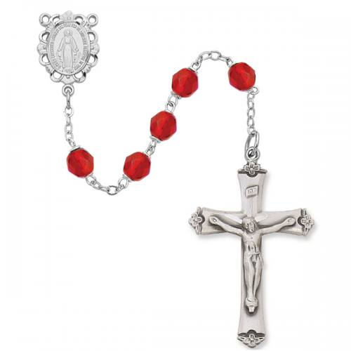 Rosary Miraculous Medal Ster Silver Ruby July Birthstone