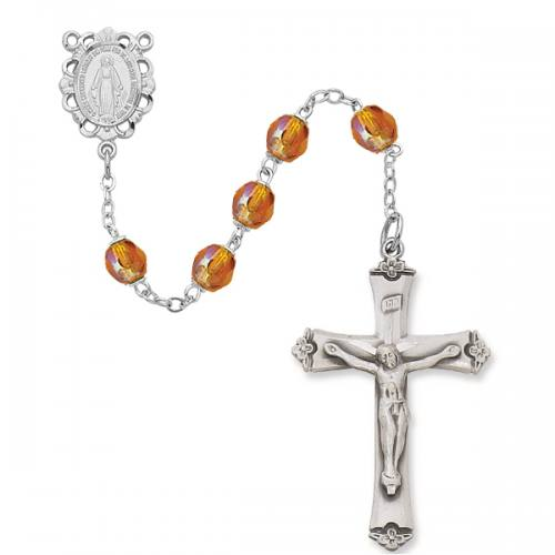 Rosary Miraculous Medal Ster Silver Topaz November Birthstone