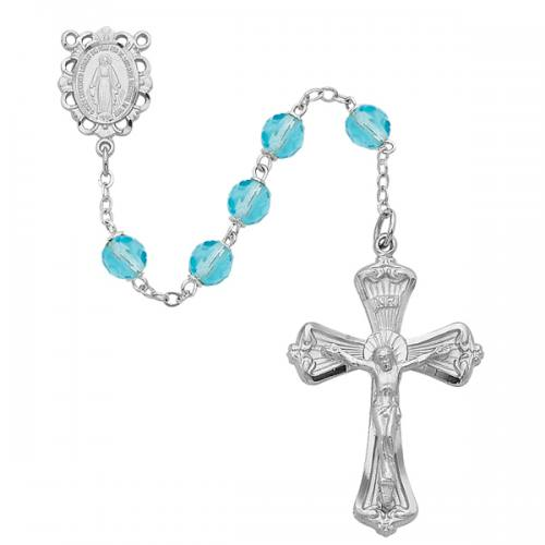 Rosary Miraculous Medal Rhod Silver Aquamarine March Birthstone