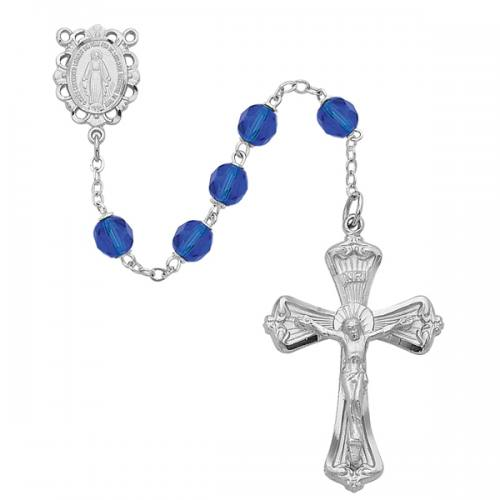 Rosary Miraculous Medal Rhod Silver Sapphire Sept Birthstone