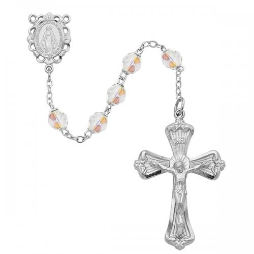 Rosary Miraculous Medal Rhod Silver Crystal April Birthstone