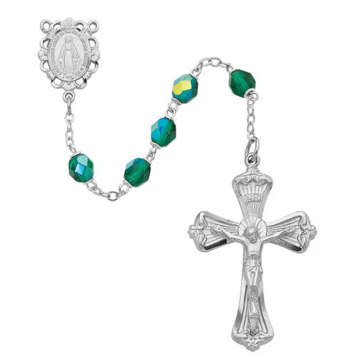 Rosary Miraculous Medal Rhod Silver Emerald May Birthstone