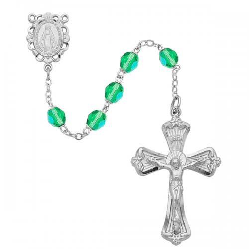 Rosary Miraculous Medal Rhod Silver Peridot August Birthstone