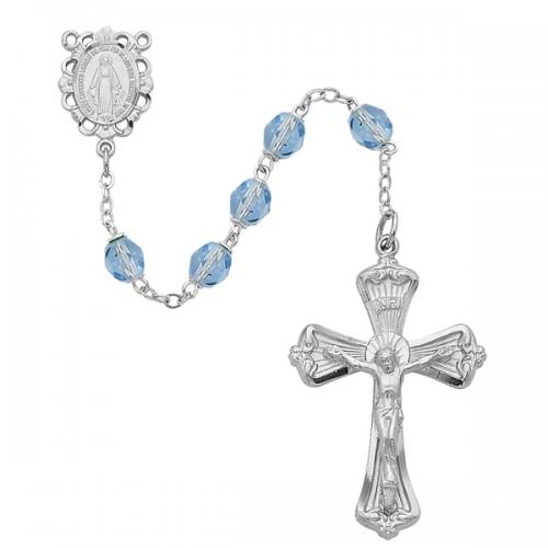 Rosary Miraculous Medal Rhod Silver Turquoise Dec Birthstone