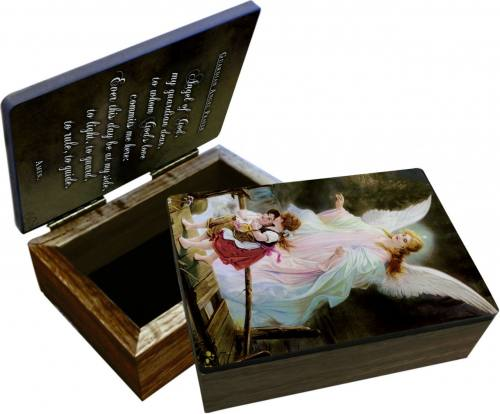 Keepsake Box Guardian Angel Laminated Hardwood