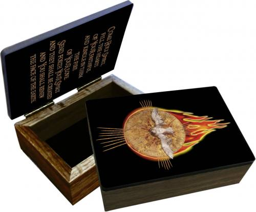 Keepsake Box Holy Spirit Dove & Fire Laminated Hardwood