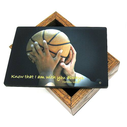 Keepsake Box Sport Basketball Laminated Hardwood