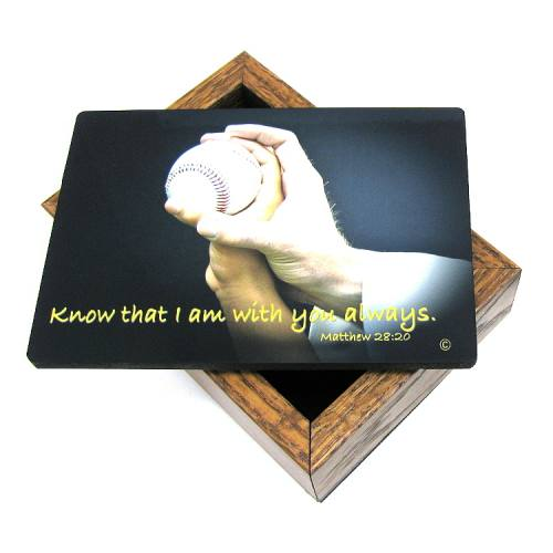 Keepsake Box Sport Baseball Laminated Hardwood
