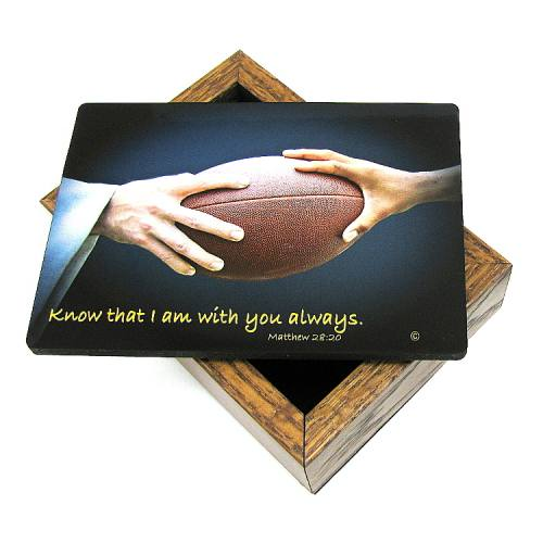 Keepsake Box Sport Football Laminated Hardwood