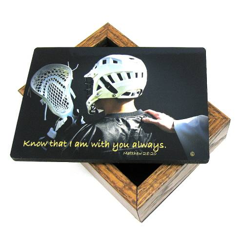 Keepsake Box Sport Lacrosse Laminated Hardwood