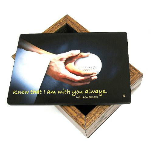 Keepsake Box Sport Softball Laminated Hardwood