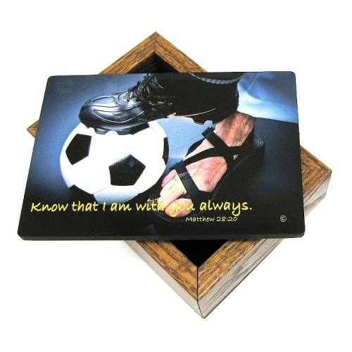Keepsake Box Sport Soccer Men Laminated Hardwood