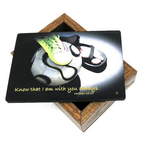 Keepsake Box Sport Soccer Women Laminated Hardwood