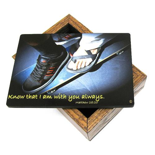 Keepsake Box Sport Skateboarding Laminated Hardwood