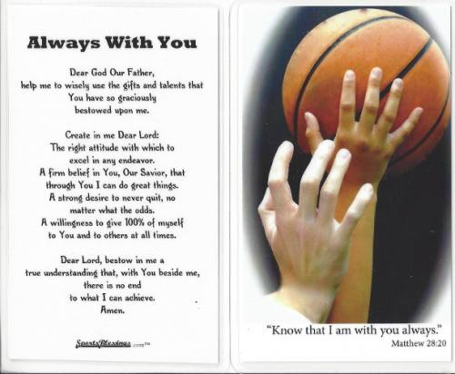 Prayer Card Basketball Laminated
