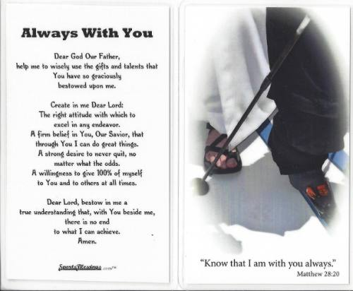 Prayer Card Skiing Laminated