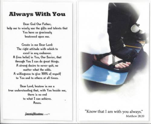 Prayer Card Snowboarding Laminated