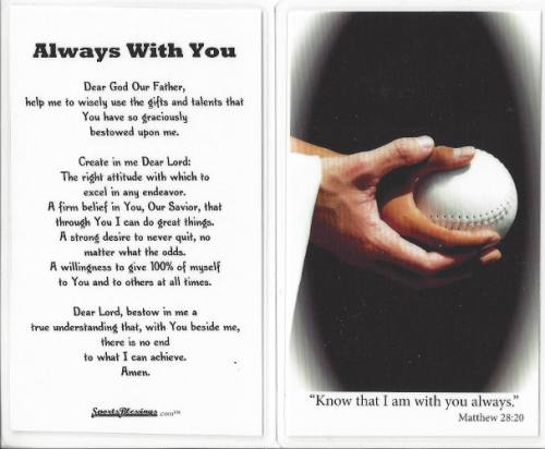 Prayer Holy Card Softball Laminated