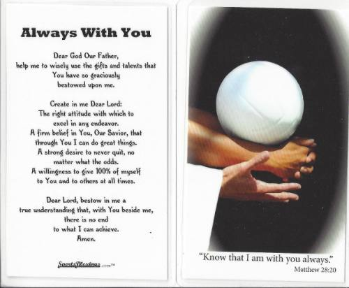 Prayer Card Volleyball Laminated