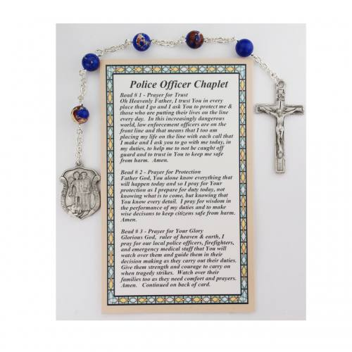 Chaplet Rosary Police Officer St. Michael Shield Blue Marbelized