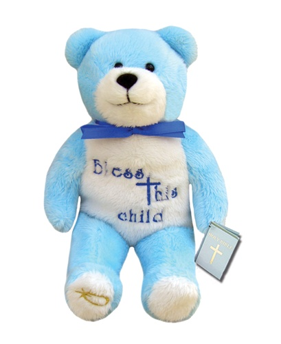 Teddy Bear Bless This Child Blue Holy Bears Plush