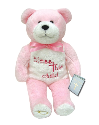 Teddy Bear Bless This Child Pink Holy Bears Plush
