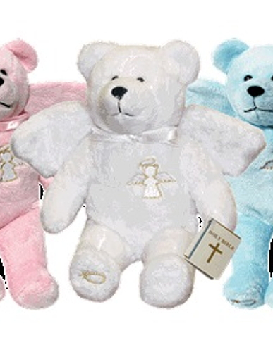 Teddy Bear Guardian Angel White Holy Bears Plush
