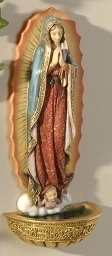 Holy Water Font Mary Our Lady Guadalupe 7.5 inch Resin Painted
