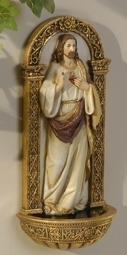 Holy Water Font Jesus Sacred Heart 7.25 inch Resin Painted