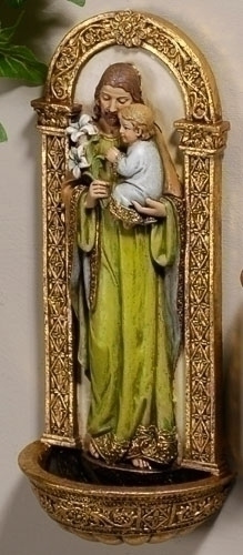 Holy Water Font St Joseph 7.25 inch Resin Painted