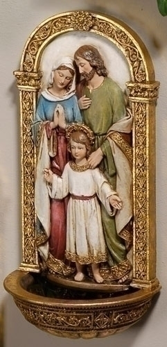 Holy Water Font Holy Family 7.75 inch Resin Painted
