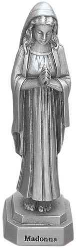 Statue Mary Praying Madonna 3.5 inch Pewter Silver