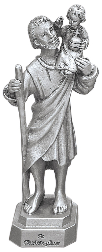 Statue St Christopher 3.5 inch Pewter Silver