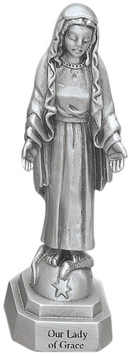 Statue Mary Our Lady of Grace 3.5 inch Pewter Silver