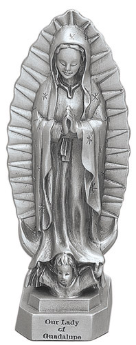 Statue Mary Our Lady Guadalupe 3.5 inch Pewter Silver