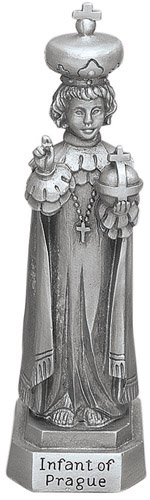 Statue Jesus Infant Child of Prague 3.5 inch Pewter Silver