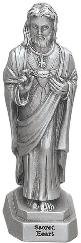 Statue Jesus Sacred Heart 3.5 inch Pewter Silver