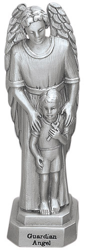 Statue Guardian Angel & Boy 3.5 inch Pewter Silver
