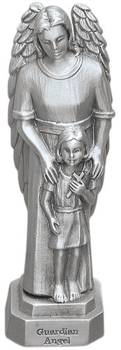 Statue Guardian Angel & Girl 3.5 inch Pewter Silver