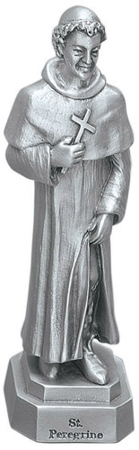 Statue St Peregrine 3.5 inch Pewter Silver