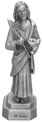 Statue St Lucy 3.5 inch Pewter Silver