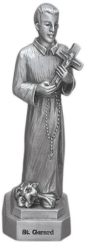 Statue St Gerard 3.5 inch Pewter Silver