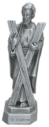 Statue St Andrew Apostle 3.5 inch Pewter Silver