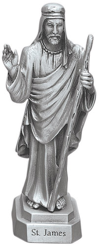 Statue St James Less 3.5 inch Pewter Silver