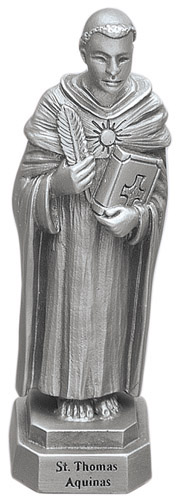 Statue St Thomas Aquinas 3.5 inch Pewter Silver