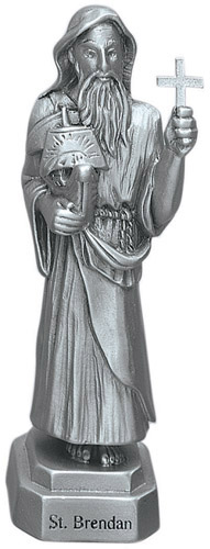 Statue St Brendan the Navigator 3.5 inch Pewter Silver