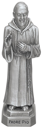Statue St Padre Pio 3.5 inch Pewter Silver